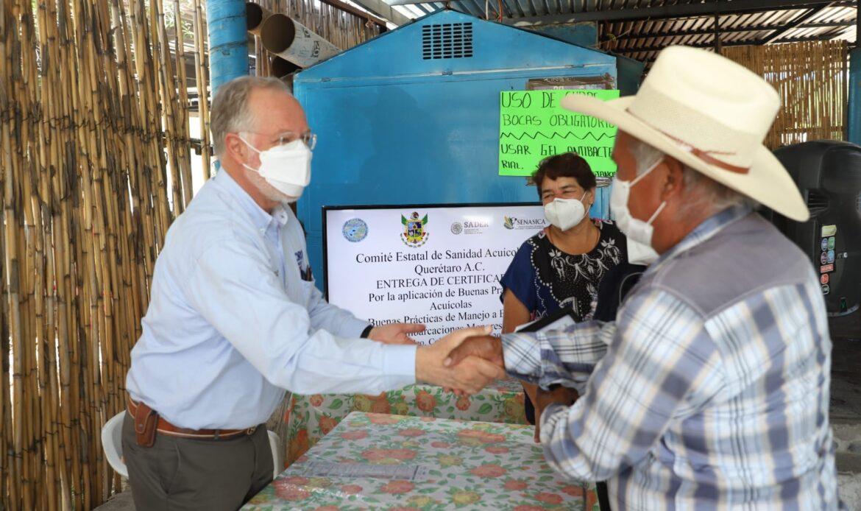 Productores acuícolas de Colón, Cadereyta de Montes y Tequisquiapan reciben certificación de SENASICA
