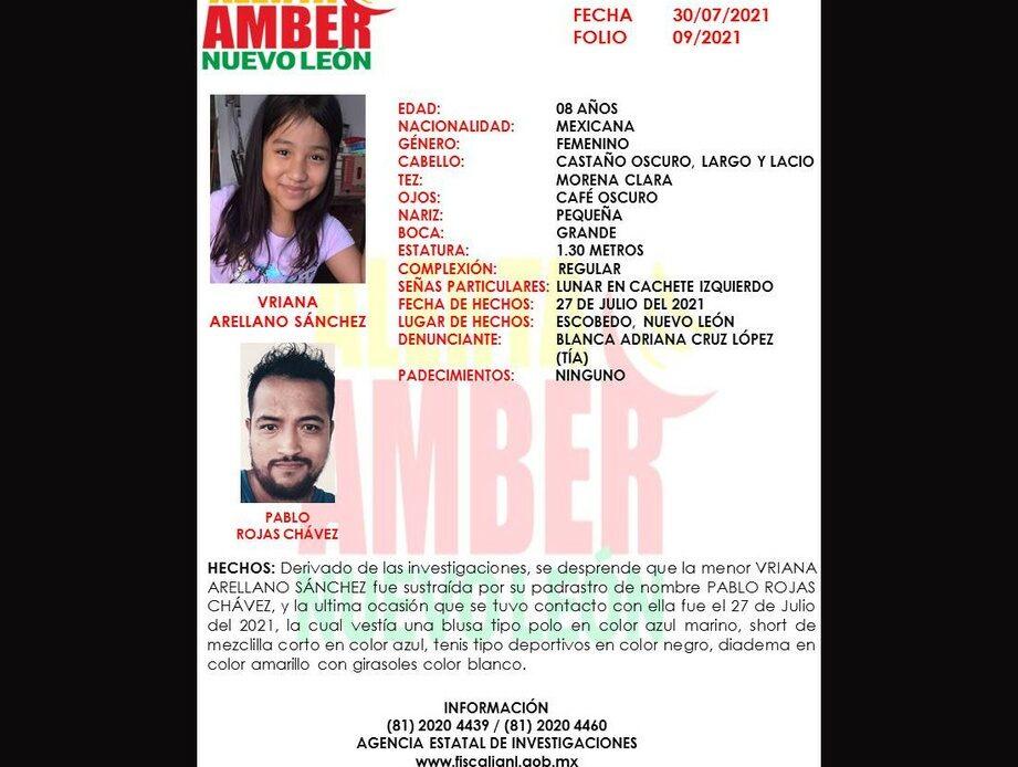 Emiten Alerta Amber para localizar a niña en NL